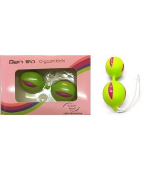 Palline vaginali Geisha in silicone verdi e viola