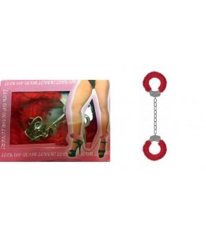 Manette per caviglie con pelo rosso in metallo (oggettistica)