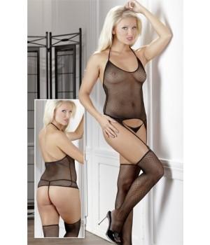 Guepiere Calze e Perizoma Nero a Rete (lingerie)